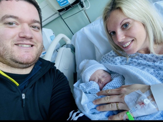 Anne-Marie and Adam Duckers with newborn Jack Duckers