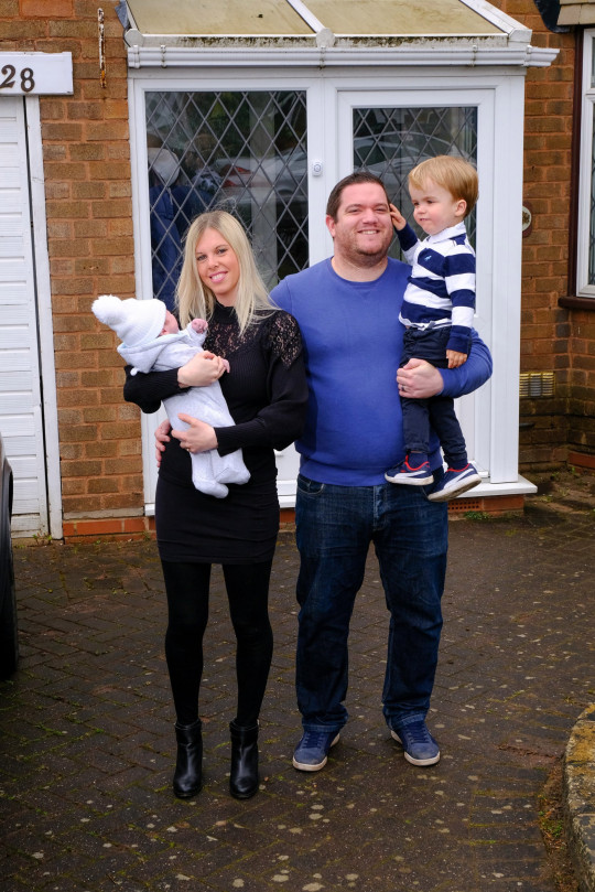 Adam and Anne-Marie Duckers with their children Theo, 2, and newborn Jack