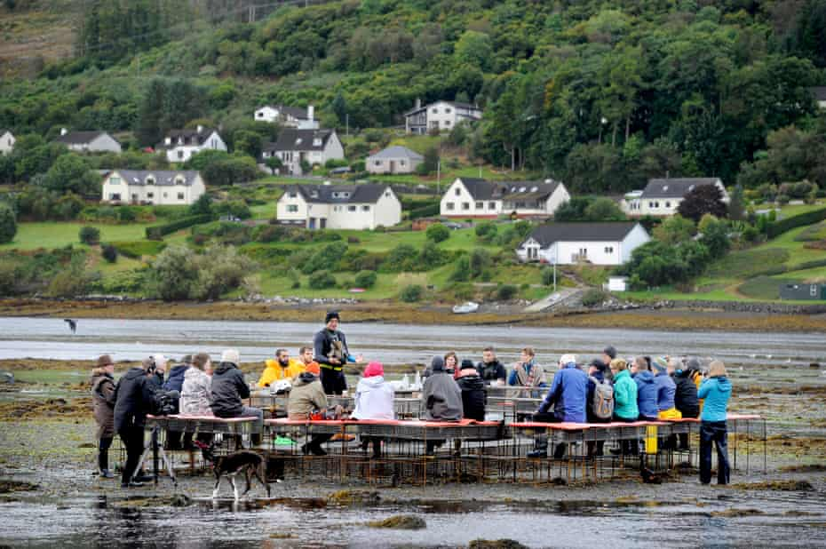 Communal education … the oyster table installation on Skye.