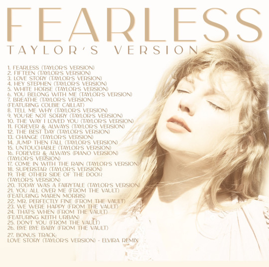 Taylor Swift's tracklist for Fearless (Taylor's Version)