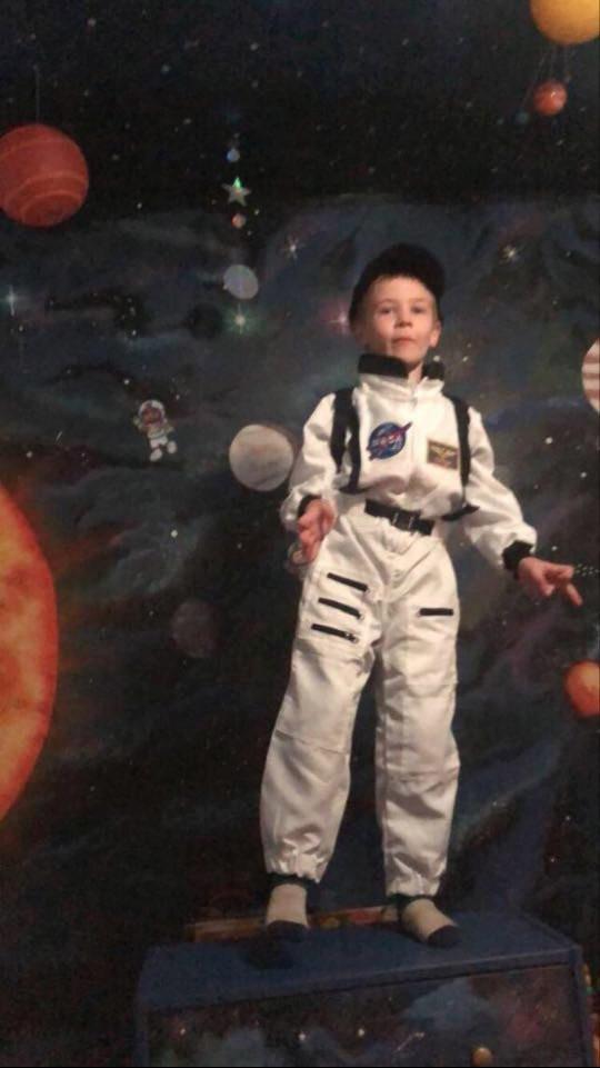 Leon enjoying his incredible space room