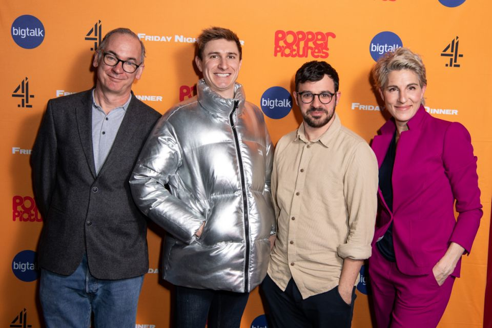 LONDON, ENGLAND - MARCH 09: (L-R) Paul Ritter, Tom Rosenthal, Simon Bird and Tamsin Greig attend the