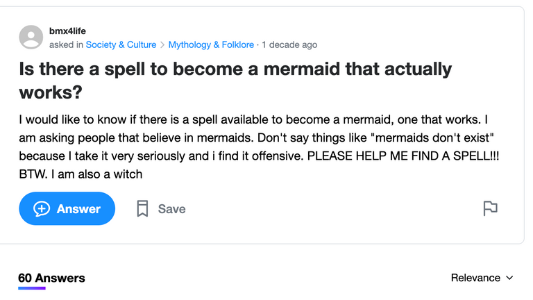 Question Five: Is there a spell to become a mermaid?