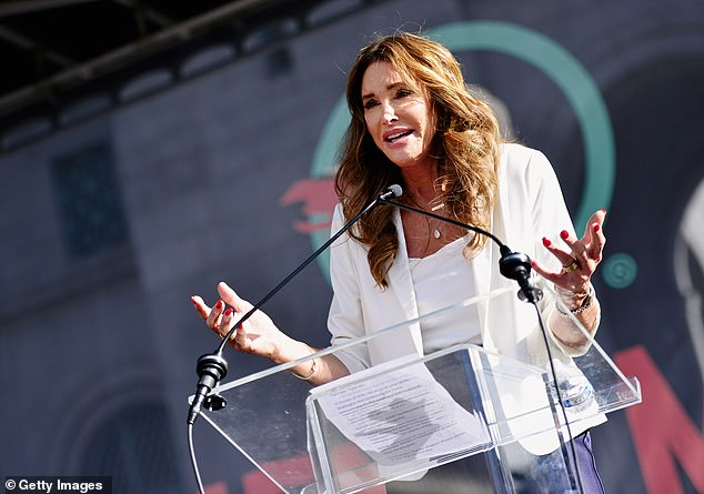 Progress: Jenner said in a PEOPLE interview in 2020 that she's changed her thinking in a lot of ways and no longer solely identifies as a Republican, but is more 'economically conservative, socially progressive' (seen at the Women's March in January 2020)