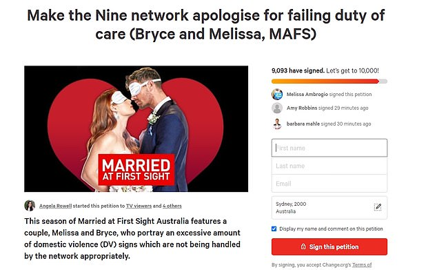 Petition:Over 12,000 viewers have signed a change.org petition calling for Nine to apologise for airing 'triggering' scenes involving Bryce and Melissa, and accusing the network of failing its 'duty of care' to Melissa