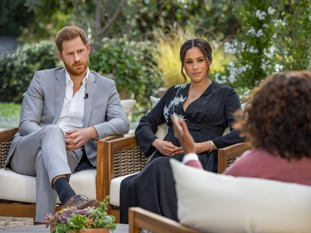 Prince Harry and Meghan Markle during their interview with Oprah Winfrey