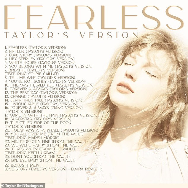 Taylor's Version: The song is her second 'from the vault' track released thus far, and earlier this week she dropped You All Over Me which featured country star Maren Morris, along with the full track list for Fearless (Taylor's Version)
