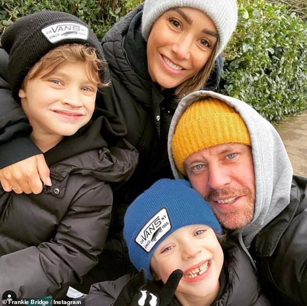 Family:The mother-of-two also told fans that being really busy over the past month has hit her hard, leading her to forget to reorder more antidepressants (pictured with sons Parker and Carter as well as husband Wayne)