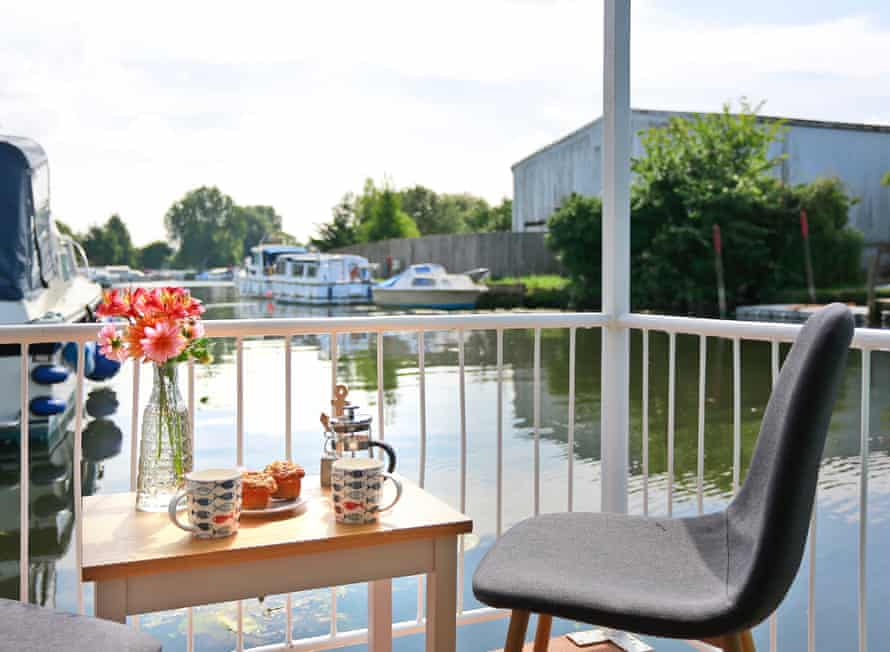 Cabin view of water and boatyard at Hipperson's boatyard, Suffolk, UK
