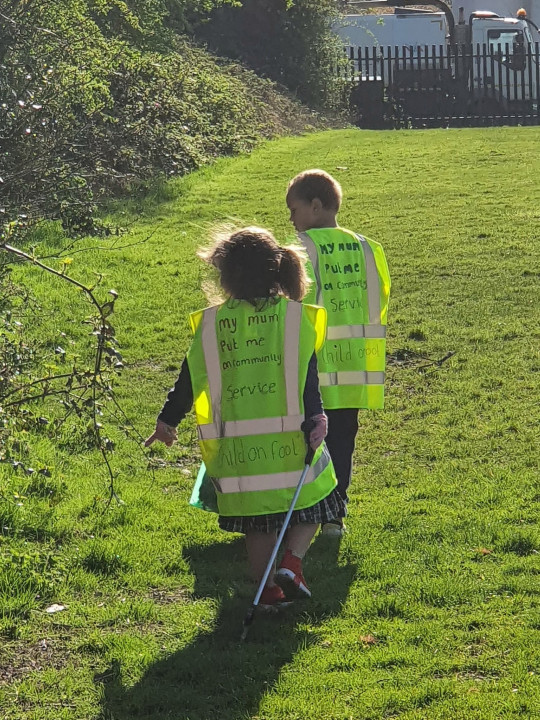A frustrated mum who was sick of her kids' bickering has been inundated with praise after putting her kids on 'community service' picking up litter to teach them respect. Katie Al-Malik, 35, said she had reached the end of her tether when her two children, Joseph, six, and Aliyah, five, had started to be disrespectful while stuck at home over the Easter half term break.
