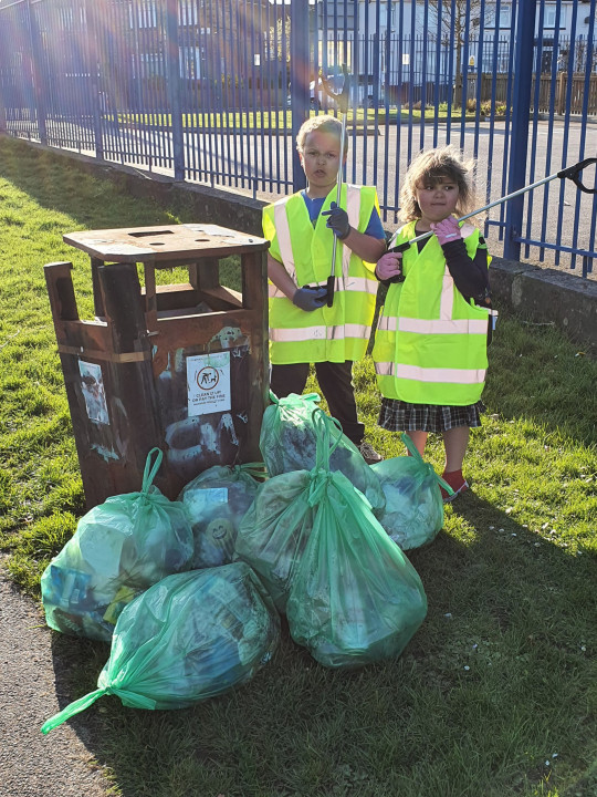 Joseph, six, and Aliyah, five, with their rubbish bags). A frustrated mum who was sick of her kids' bickering has been inundated with praise after putting her kids on 'community service' picking up litter to teach them respect. Katie Al-Malik, 35, said she had reached the end of her tether when her two children, Joseph, six, and Aliyah, five, had started to be disrespectful while stuck at home over the Easter half term break.
