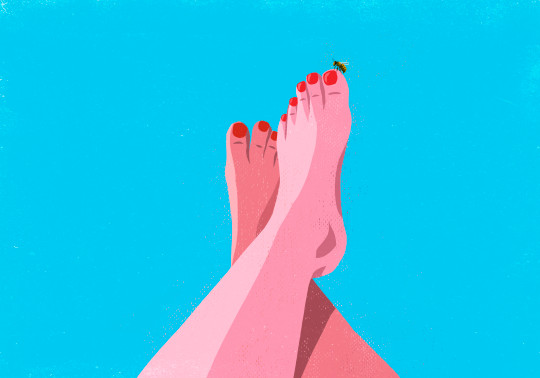 an illustration of a Bumble bee landing on big toe of a sunburned woman
