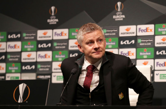 Ole Gunnar Solskjaer, Manager of Manchester United speaks to the media during a press conference after the UEFA Europa League Quarter Final First Leg match between Granada CF and Manchester United at Nuevo Estadio de Los Carmenes on April 08, 2021 in Granada, Spain. Sporting stadiums around Europe remain under strict restrictions due to the Coronavirus Pandemic as Government social distancing laws prohibit fans inside venues resulting in games being played behind closed doors.