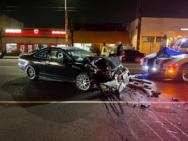 West Hollywood, CA - Chris Brown appears unfazed as he leaves an event after his car gets damaged from an accident in The Nice Guy parking lot in West Hollywood. Pictured: Car Accident BACKGRID USA 9 APRIL 2021 USA: +1 310 798 9111 / usasales@backgrid.com UK: +44 208 344 2007 / uksales@backgrid.com *UK Clients - Pictures Containing Children Please Pixelate Face Prior To Publication*