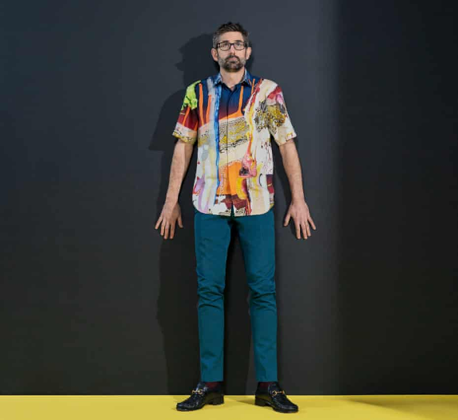 Louis Theroux wearing a brightly coloured, patterned shirt and trousers, both Berluti.com. Shoes, Gucci. Socks, Pantherella. Spectacles: Theroux's own. Styling: Tanja Martin. Grooming: Petra Sellge at the Wall Group. Fashion assistants Ania Egan and Lauren Mitchell.