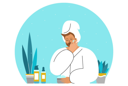 Vector flat isolated concept with smiling Caucasian adult man in bathroom, wearing in white towel, bathrobe. Daily skin care routine. Guy cleans face, uses cosmetic products