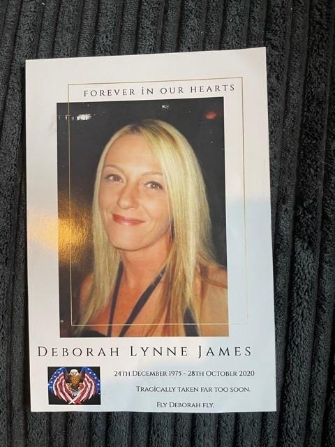 Deborah's memorial card