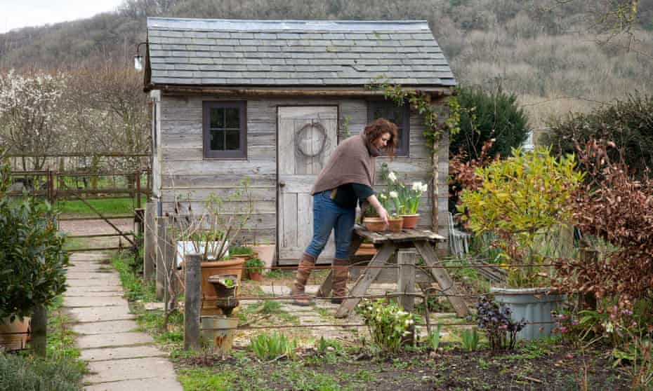Grace Alexander in front of her shed in Corfe, Somerset