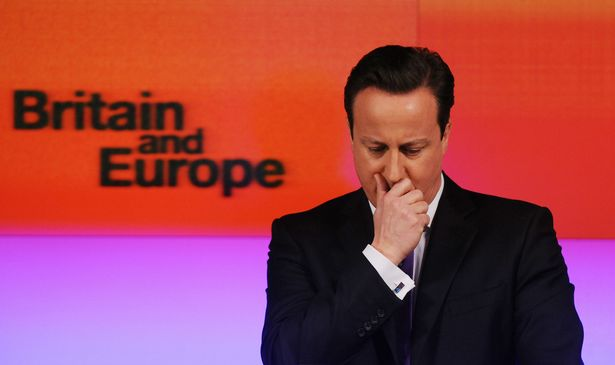Then Prime Minister David Cameron making a speech on Europe in 2013