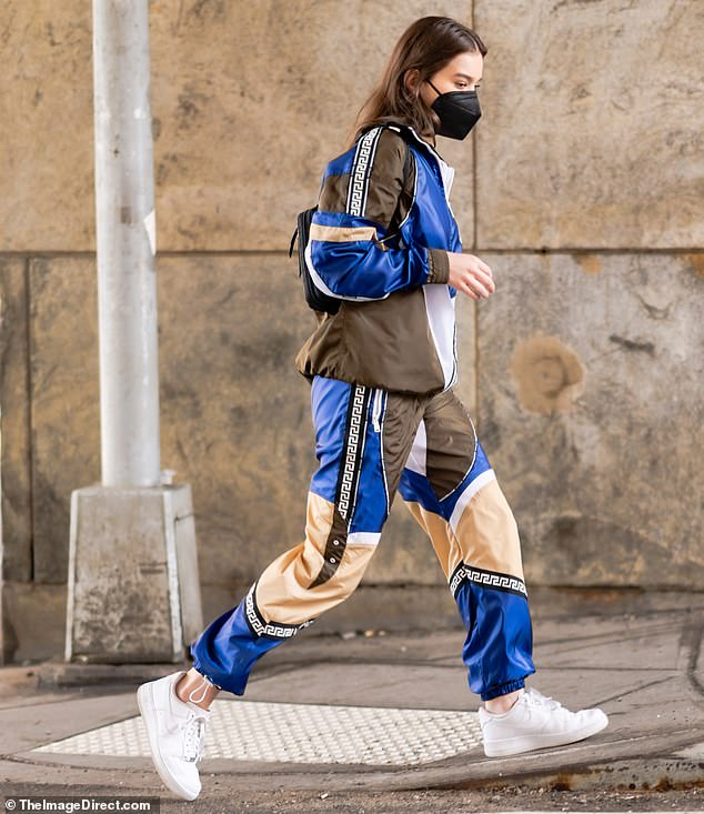 Designer duds:Hailee's designer tracksuit retails for over a $1000 and she paired the look with simple white Nikes