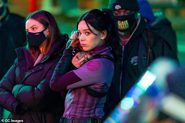 Set life: She has been hard at work filming the new Marvel mini-series Hawkeye in NYC since December; pictured December 2020
