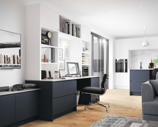 Wickes' Camden integrated workspace in midnight blue with contrasting white shelving