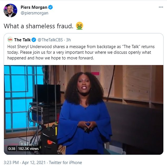 Defending Sharon: Piers Morgan took to Twitter on Monday to stick up for Osbourne, and labelled Underwood a 'shameless fraud'
