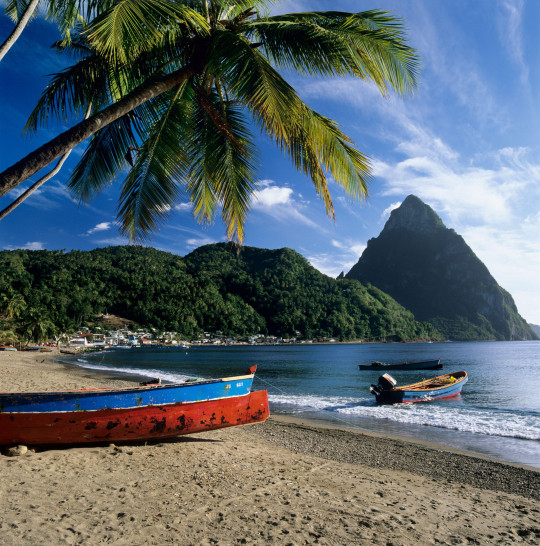 2D10BB2 The Pitons viewed from the beach at Soufriere on Caribbean island of Saint Lucia