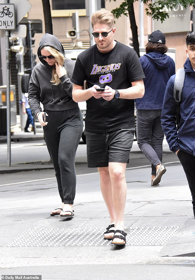 Not happy: The controversial couple, both 32, looked glum as they attempted to go incognito during a break from production