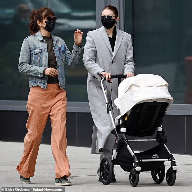 Fancy: The partner of Zayn Malik pushed her baby girl around in an upscale Bugaboo stroller, a celeb-beloved brand with models priced as high as $1500