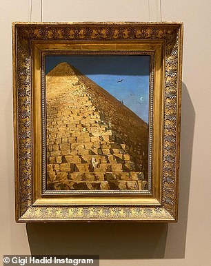 Art: The family also popped into galleries to look at 1800s-era masterpieces like a painting of The Great Pyramid, Giza by Adrien Dauzats (above)