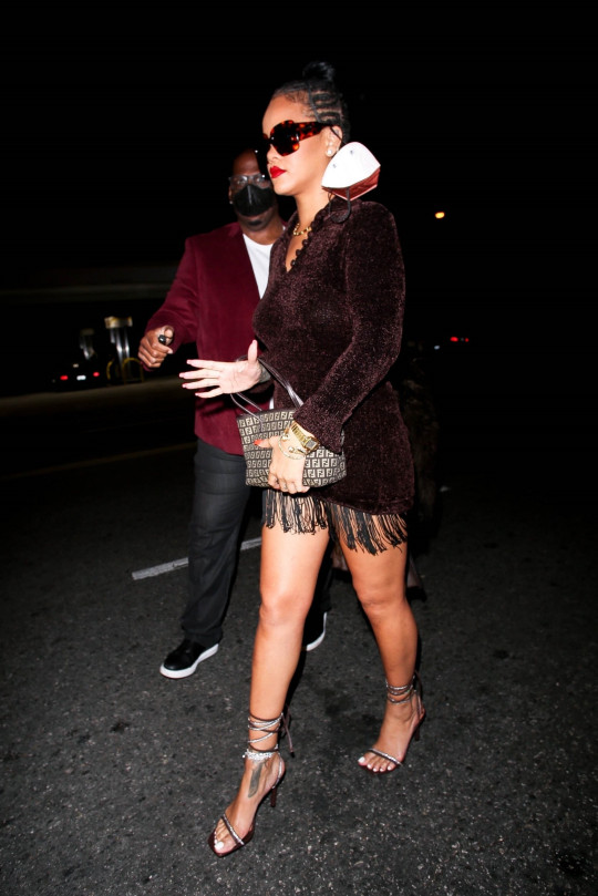 Rihanna leaving Delilah after partying with A$AP Rocky