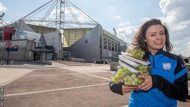 Rebecca Robertson with some of the snacks on offer at Deepdale for those in need during Ramadan
