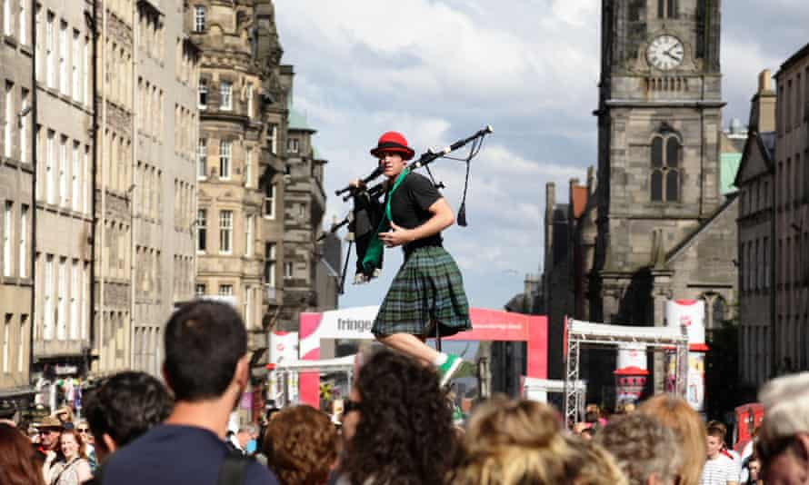 Street performer Kilted Colin at the Edinburgh fringe in 2019.