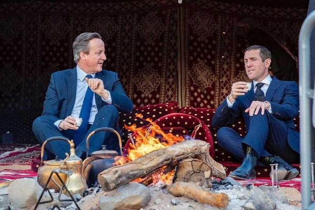 David Cameron with Lex Greensill in the Saudi desert in January 2020