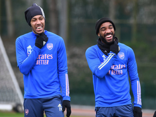 Pierre-Emerick Aubameyang and Alex Lacazette of Arsenal during a training session at London Colney on March 20, 2021 in St Albans, England.