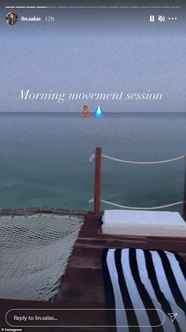 Salas shared photos of her morning yoga routine on the deck above the sea