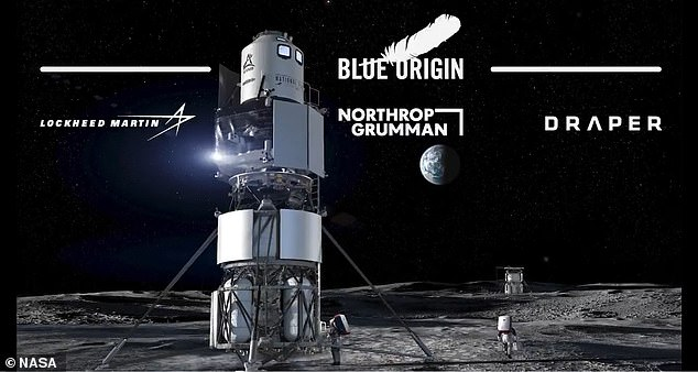 Blue Origin has been working on moon landing system, known as Blue Moon, since 2017. The firm had designed a mockup for a revised version it planned to send to the moon