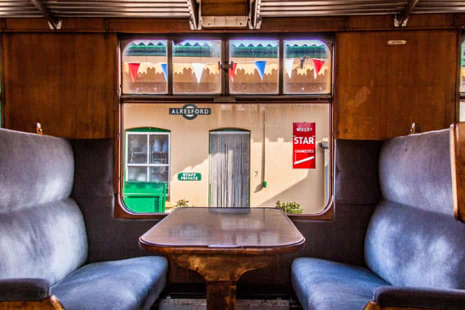 Interior of a steam train carriage, Watercress Line, Mid Hants Railway, Hampshire England, United Kingdom.