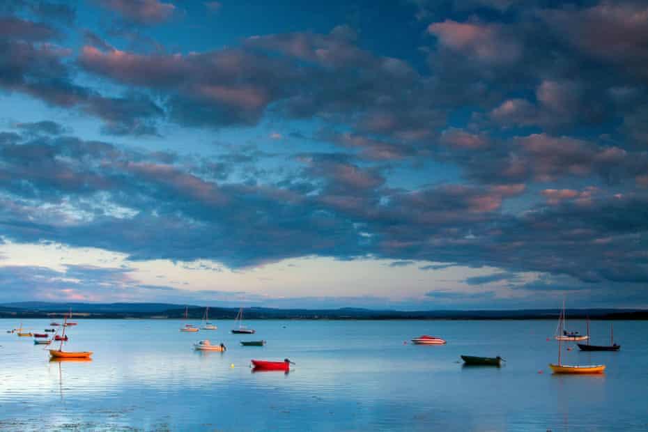 Findhorn Bay at dusk, Moray, Scotland, UK.