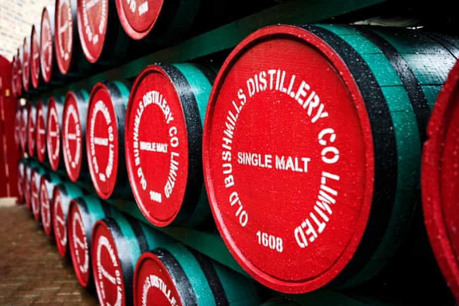 Single malt whiskey barrels of Old Bushmills at its distillery in Northern Ireland, UK.
