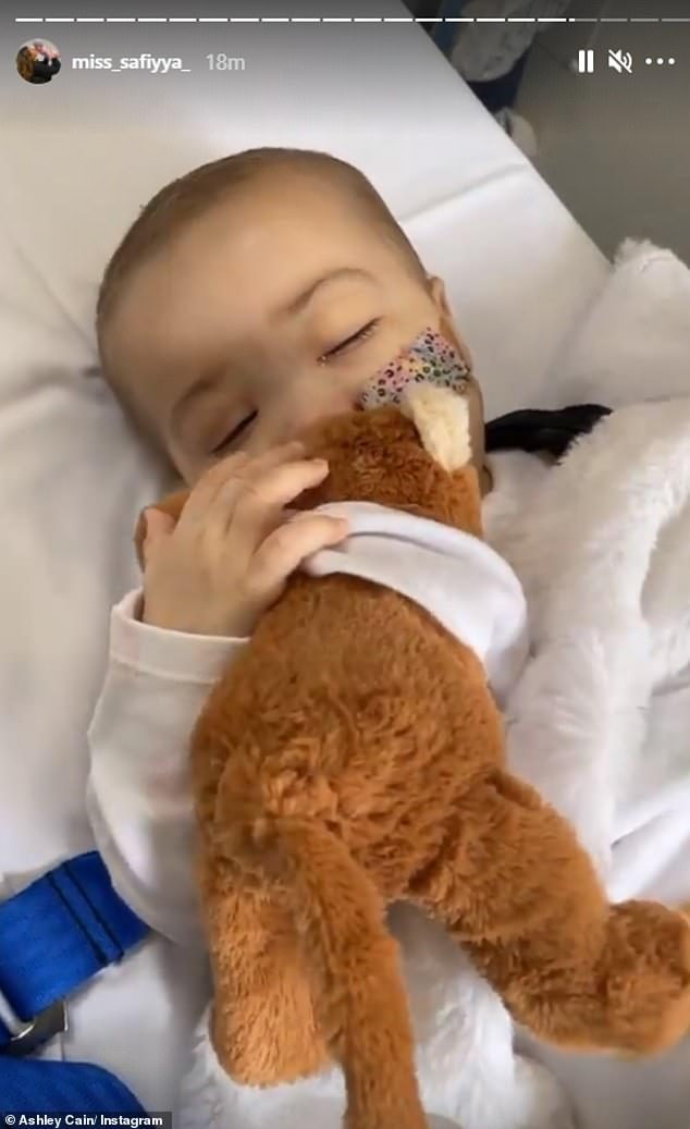 Home:In what will no doubt be happy news for the family, on Wednesday Safiyya shared a video of Azalyia as they made their way home after another platelet transfusion