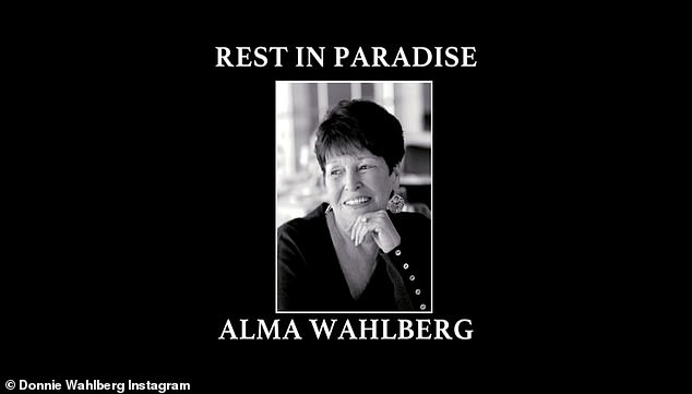 Rest in paradise: Alma was a devoted mother of nine who made frequent appearances on the show The Wahlbergers