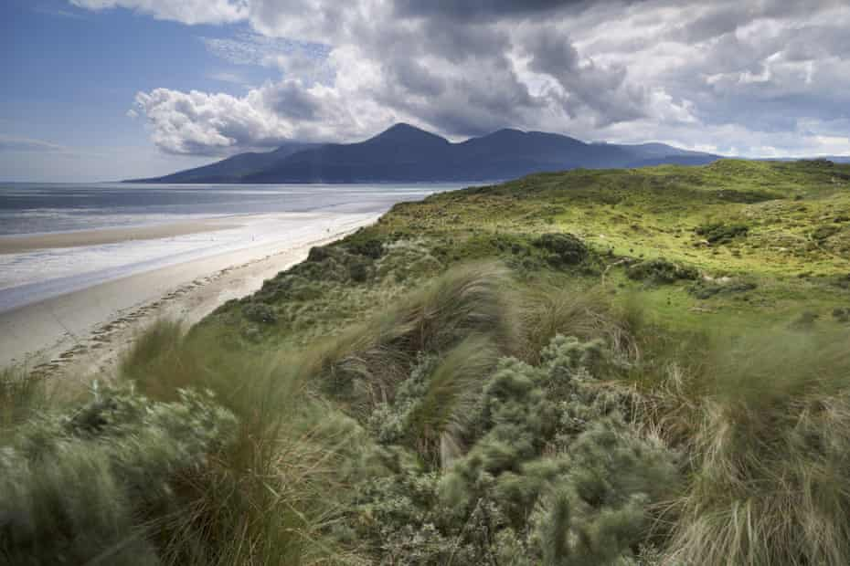 View to the Mourne mountains from Murlough national nature reserve, County Down, Northern Ireland.