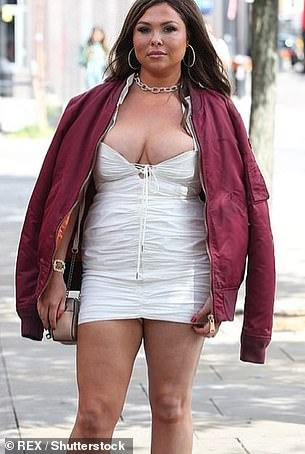 Old times: Fran was attacked for her appearance while filming TOWIE in the same dress last August after gaining three stone during lockdown