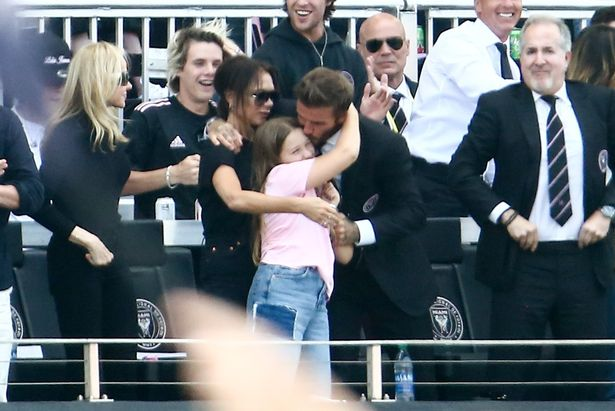 He gave his youngest child a kiss as they celebrated the short-lived win - before LA Galaxy took over