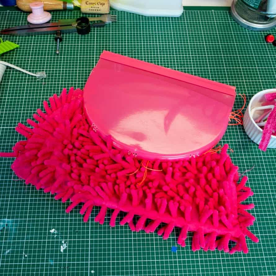 A handbag made from a bathmat