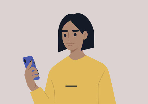 A young female character using a mobile phone, millennial daily life