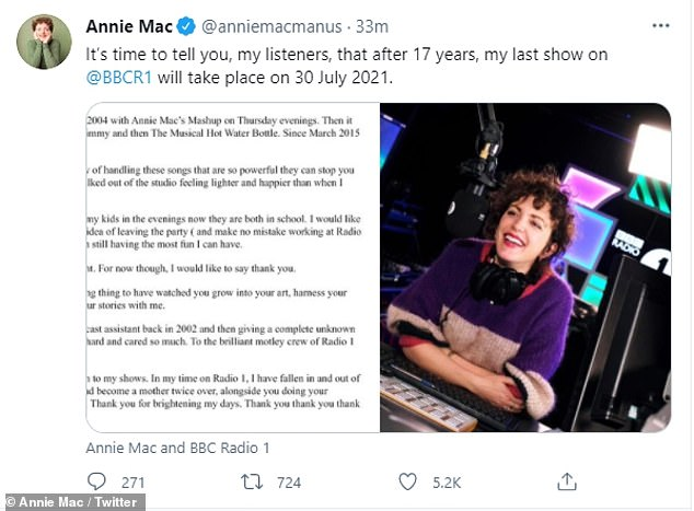 Statement: Annietook to Twitter and wrote a statement about her decision to leave Radio 1, saying she wants to spend more time with her two children