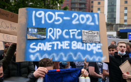 Chelsea fans made their feelings known outside Stamford Bridge